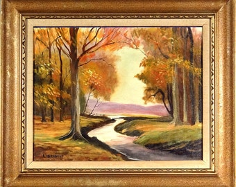 Superb ca.1960 Woods Scenery Impressionist Painting Oil/Canvas w/Frame Signed