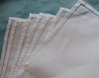 7 Hemstitched Linen Handkerchiefs Hankies New Old Stock