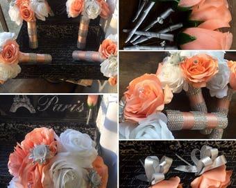 Peach White Silver 17 Piece Wedding Bouquet Flower Set, Peach Bouquet, Peach White Rose Bouquet, Peach Wedding Bouquet, Peach Bridal Bouquet