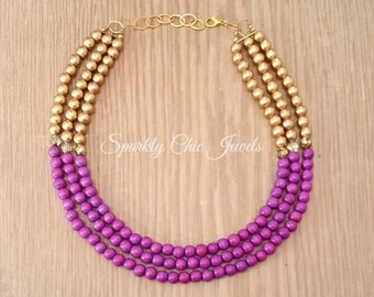 Lavender and Gold Color Block Necklace
