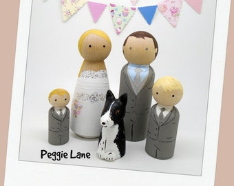 Wedding Cake Topper, Family Wedding cake toppers, Bride Groom 2 Pageboys & dog, Peg Dolls, Wedding Peg Dolls