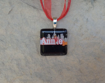 Broadway Musical Annie Jr. Glass Pendant and Ribbon Necklace