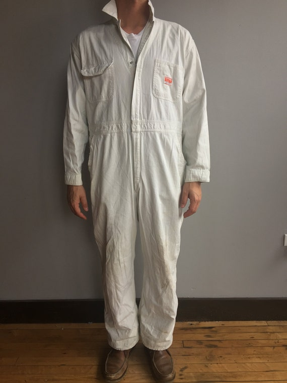 White Powr House Montgomery Ward Jumpsuit Coverall Mechanic Sanforized with stylized staining