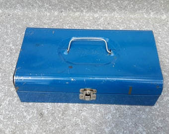 Bernz O Matic Vintage Blue Metal Tool Box.
