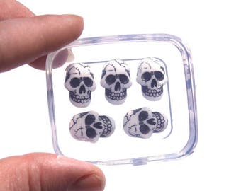 Clear-silicone skull mold.Good for stud earrings,bracelet,Round flatback Scrapbooking for phone/wedding/craft.16x11mm.Free USA shipp.(Z-08)