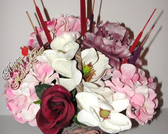 Mothers Day Pic in this Beauty Basket of Silk Posies of Magnolia Hydrangea a Peony  and a Rose