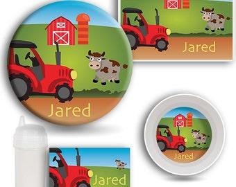 Farmer DINNERWARE SET, Personalized Dishes, Melamine Plate, Kids Bowl, Travel Mug, Kids Placemat, Tractor Dishes, Barnyard Kids Dish Set