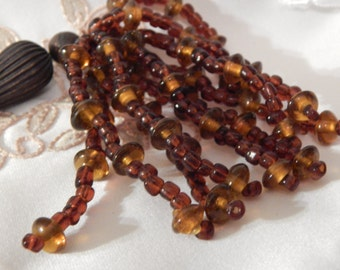 Beaded Trim with Brass Pieces - Amber Colored Beads