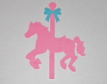 Carousel Horse - with bow Die Cut 25 pieces  You choose quantity and color