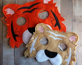 Felt Tiger Mask in 2 Sizes, Elastic Back, Tan or Orange Acrylic Felt, Cosplay, Costume, Dress Up Tiger Mask, Photo Booth Prop, Made in USA