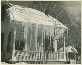 House covered in icicles winter art photo by E. Clark
