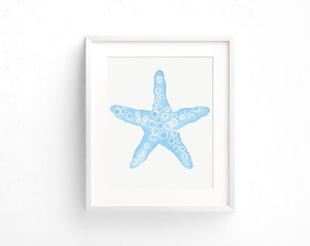 Watercolor starfish, kids room art, beach decor, kids prints