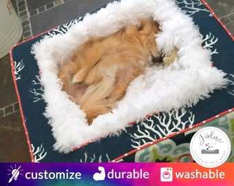 Blanket Dog Bed | Luxury Dog Bed with Ultra Soft Blanket | Isadella Navy, Harford Canal, Coral | Choose Your Fabrics & Size