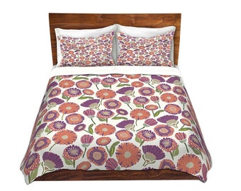 Pretty Florals Bed Duvet Cover in Gray and Teal – For Twin, Queen and King Size Beds