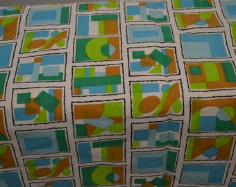 """1950's Vintage Geometric Shapes and Squares of Shades of Green, Blue, Brown Dress Light Weight Cotton fabric 2 yards 32"""" by 35"""" wide"""