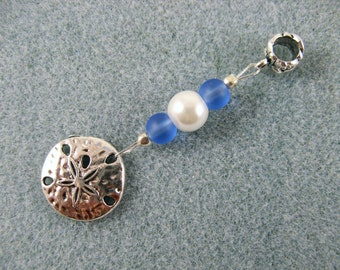 Dreadlock charm dangle with sand dollar, blue glass and glass pearl
