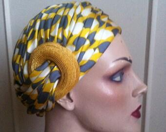 1960s ADELE OF MAYFAIR Silk Twill Turban
