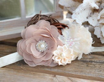 Taupe, brown and Ivory Headband
