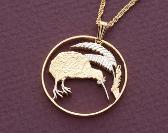 """Kiwi Pendant and Necklace Jewelry, New Zealand 20 Cent Coin Hand cut, 14 karat Gold and Rhodium plated, 1"""" in Diameter, ( # 238 )"""