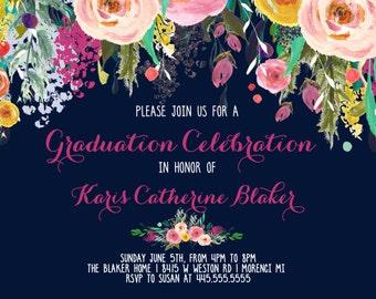 Graduation Party Invitation Floral Graduation.  Graduation Photo Printable Invitation
