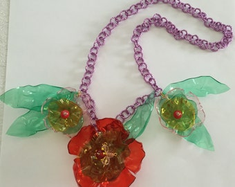 """Jewelry necklace made with recycled plastic bottles - Collana in plastica riciclata - """"Flowers and leaves"""""""