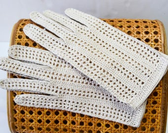 Italian leather lamb / leather crochet knitted gloves, leather gloves and crochet,