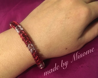 Chainmail bracelet, chainmaille bright aluminum red and pink Valentines day, chain mail bracelet handmade jewelry made by misome