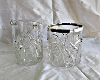 Sugar Creamer US GLASS EAPG New Hampshire Pattern Sterling Rim