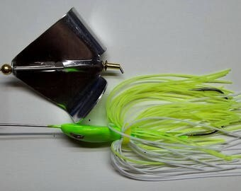 """1/2 ounce """"Head Thumper""""  Topwater Buzzbait in Chartreuse and White - Bass Fishing - Fishing - """"NEW"""""""