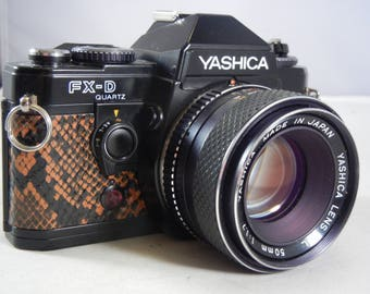 Re-leathered Yashica FX-D Quartz with Yashica ML 50mm f/1.7 Lens