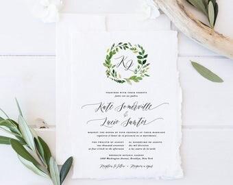 Bilingual Wedding Invitation Set, Printable Greenery Wreath Wedding Suite, Simple Green Leaves Invites, Formal Monogram Wedding Cards