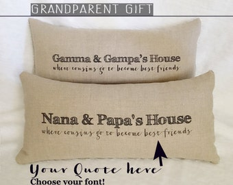 parents, grandparents, pillow, name pillow, custom printed pillow cover, decorative throw pillow covers, pillow inserts and blankets, gifts