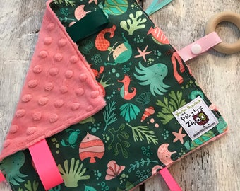 Baby Little toy blanket, green and pink mermaids, coral minky
