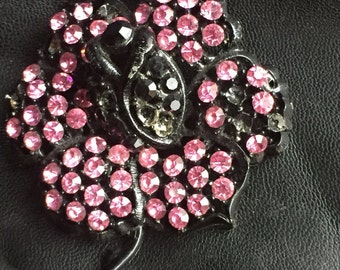 Vintage Signed WEISS, Flower Pin Brooch pink black