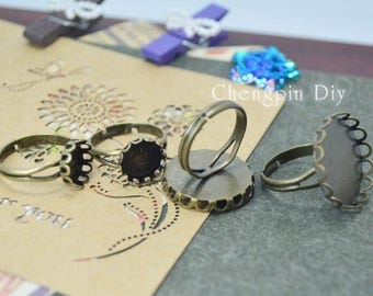 Round Bronze Lace Y Ring Blank - Adjustable Lace Ring Bezels - Lace Brass Ring Base