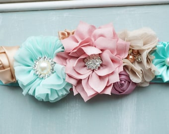 Maternity sash, mint, pink and cafe maternity photo prop. Bridal Sash