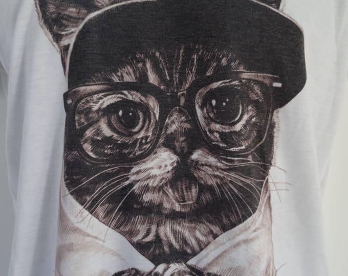 Women's Geek Cat T-Shirt - UK 12 14 16 - Tattoo Glasses Funny Alternative Cute Kitten