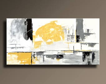"48"" Large Original ABSTRACT Painting on Canvas Contemporary Modern Art White GRAY Black YELLOW Wall Decor Home Decor - Unstretched - YG07i5"