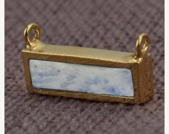 45% HOLIDAY SALE Rainbow Moonstone Bar Necklace Pendant, 15x7mm Rectangle Shape 24k Gold Plated ...