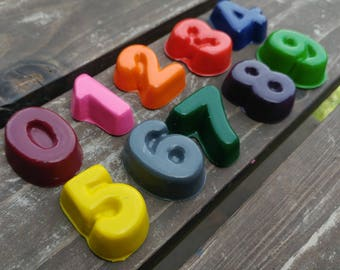 Number crayons set of 20 - party favor - stocking stuffer - recycled crayons