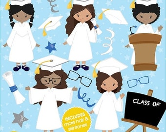 80% OFF SALE Graduation girls clipart commercial use, vector graphics, digital clip art, digital images - CL842