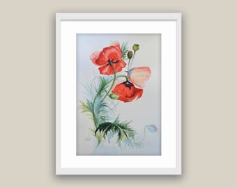 Watercolor Poppies Original Floral Wall decor