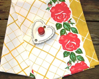 Kitchen Towel in Cotton, Prairie Kitchen Tea Towel Yellow and Red