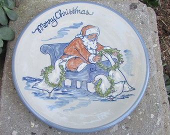 Merry Christmas Santa Claus Plate with Geese Louisville Stoneware made in Kentucky