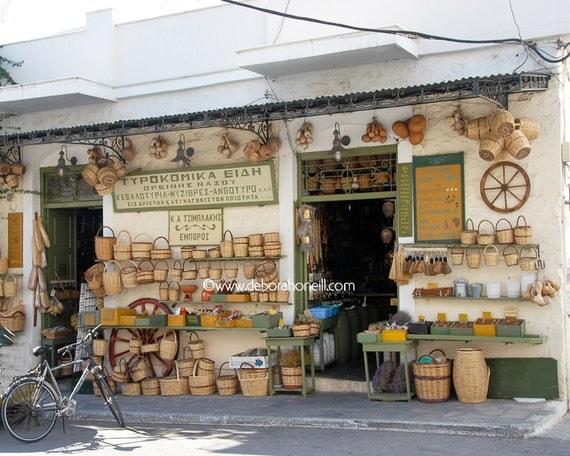 "Greece Photography Naxos island market merchant store shop food wall art 8x10 prints ""Island Market, Naxos, Greece"""