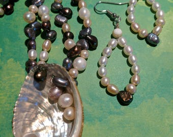 Seashell Freshwater Pearls Necklace and Earring Set