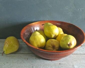 Large Vintage Heavy Wooden Bowl, Salad Bowl, Fruit Bowl