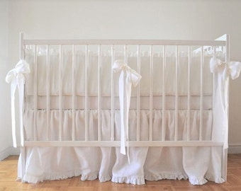 White Linen Crib  bedding -  gathered skirt and 4 side bumper- Nursery bedding