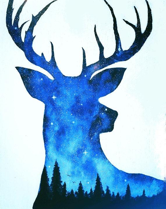 Deer Painting Double Exposure Deer Night Sky Painting
