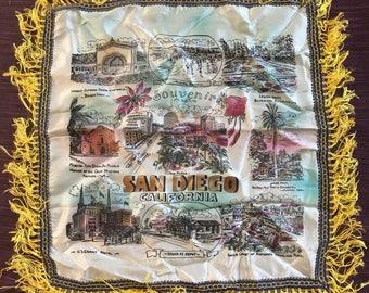 Vintage San Diego California Silk Souvenir Pillowcase